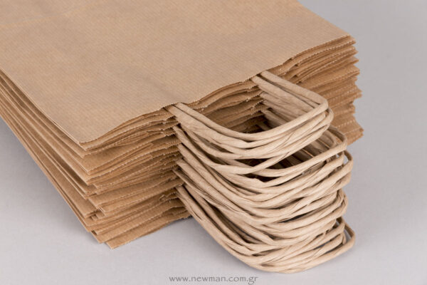 Twisted handle carrier paper bags