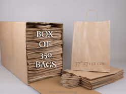 Box with 350 brown carrier bags