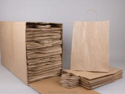 Τσάντα καφέ ριγέ 37x27+12 cm