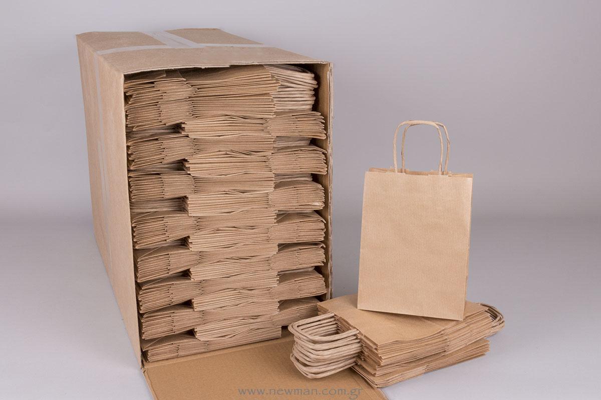 Τσάντα καφέ ριγέ 18x14+8 cm