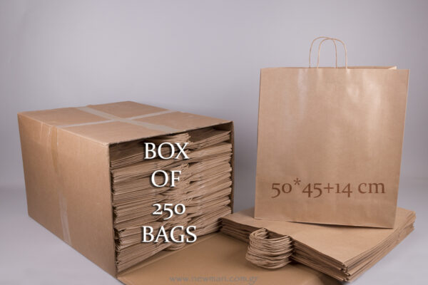 Box with 250 brown carrier bags