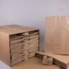 Τσάντα καφέ ριγέ 50x45+14 cm
