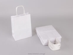 White carrier bag 18x14+8 cm