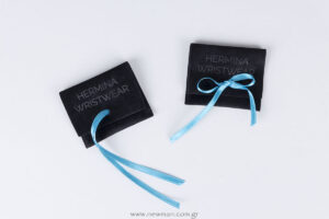 Hermina Wristwear: velvet jewellery pouches with logo