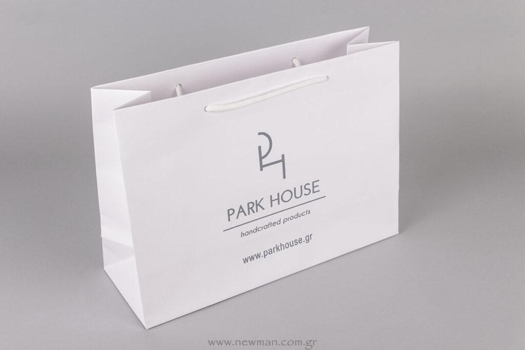 Χάρτινη τσάντα πολυτελείας με εκτύπωση το λογότυπο Park House