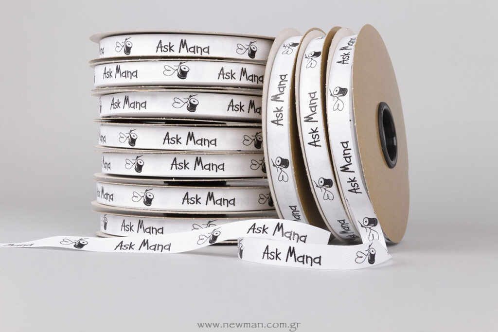 Ask Mana: Printed ribbons with embossed silk-screen printing