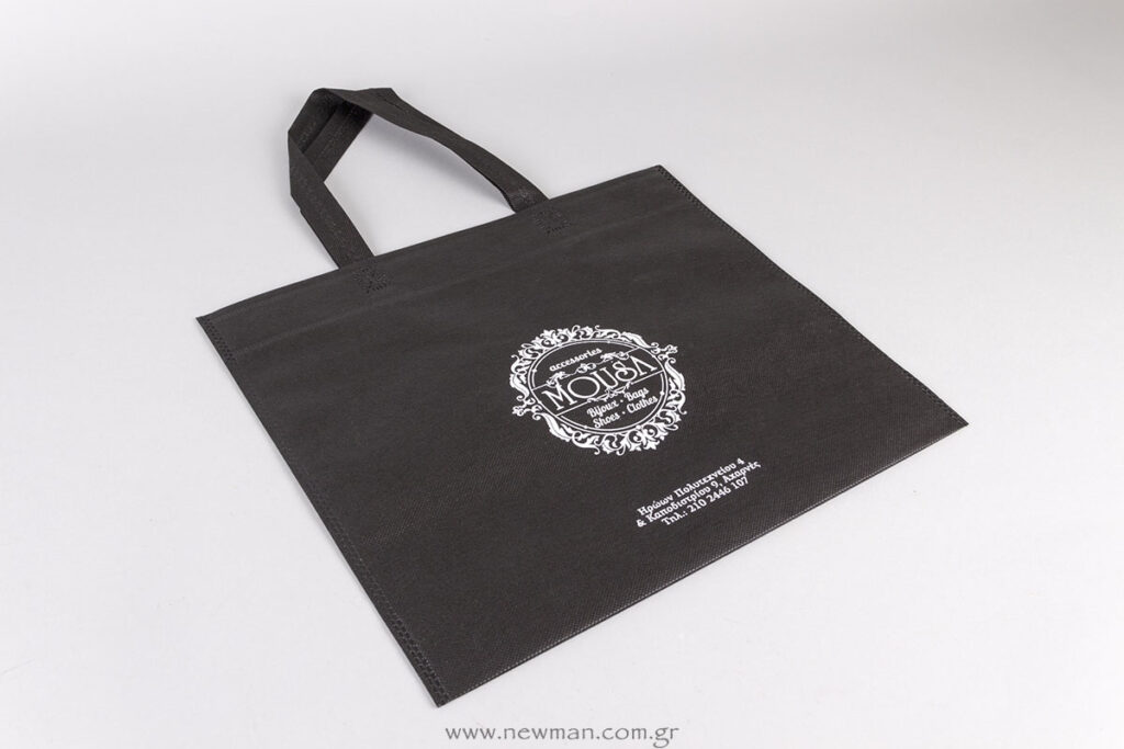 Logo and contact details on bags