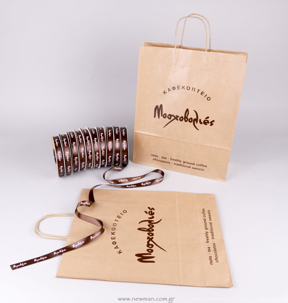 Τσάντα χάρτινη με στριφτό χεράκι και σατέν κορδέλες με λογότυπο Μοσχοβολιές