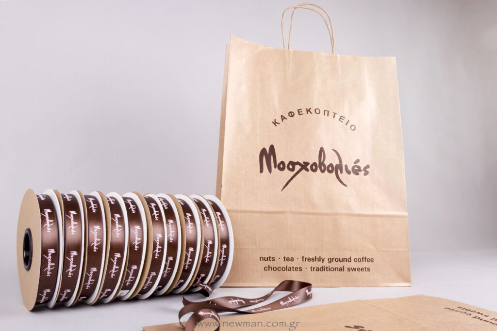 Moshovolies logo on bags and ribbons