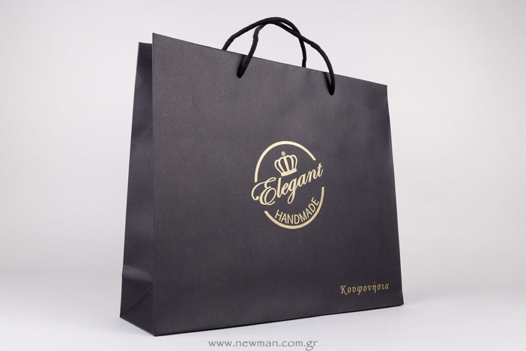 Elegant gold silkscreen printing on luxury paper bags