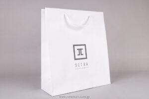 Τσάντα χάρτινη λευκή με γκρι εκτύπωση μεταξοτυπίας
