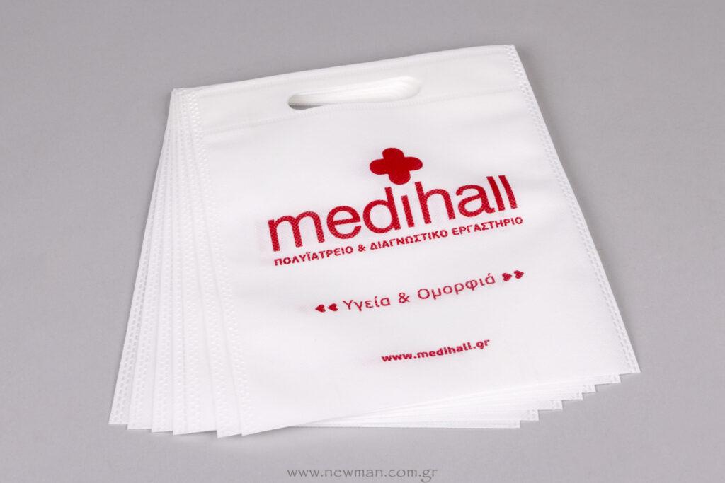Medihall logo σε λευκή τσάντα non-woven