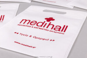 White bags with red silkscreen printing