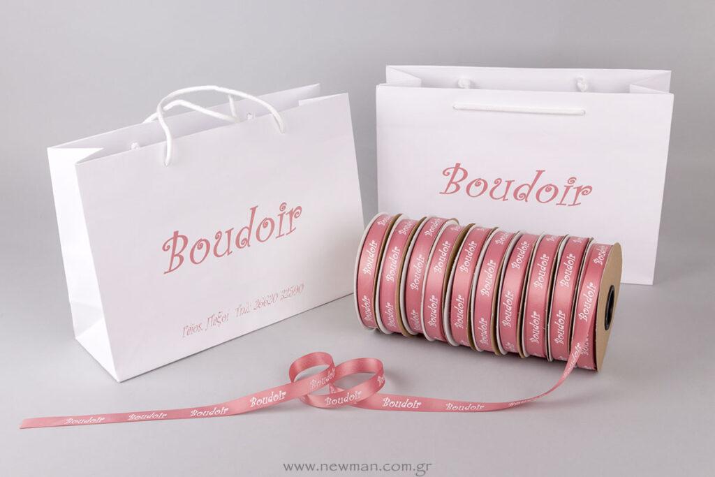 Boudoir μεταξοτυπία σε τσάντες και κορδέλες