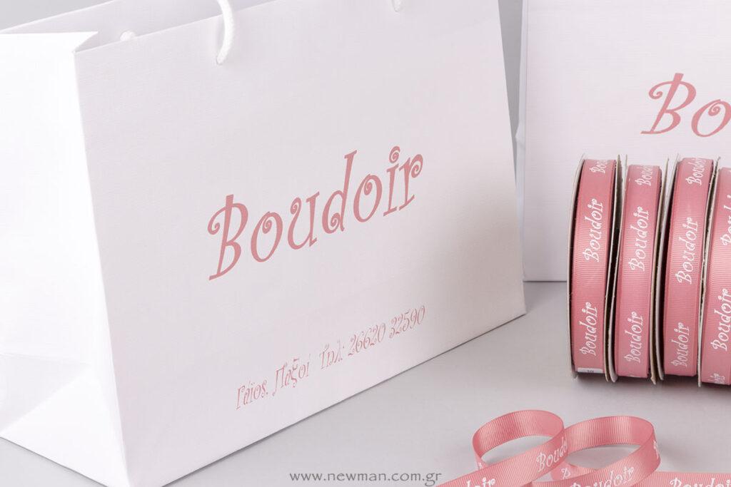 Boudoir logo σε τσάντες καταστημάτων