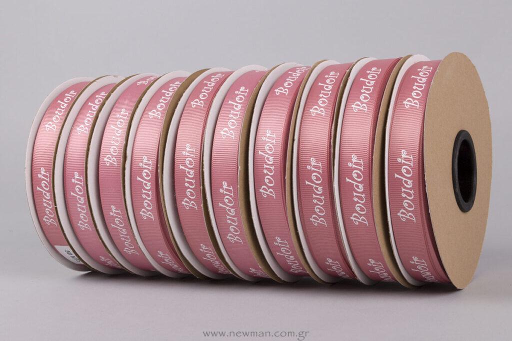 Κορδέλες γκρο ροζ παλιό με λευκή ανάγλυφη εκτύπωση