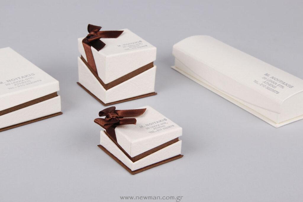 Κουτιά κοσμημάτων με εκτύπωση ασημί λογότυπο Noitakis Jewellery