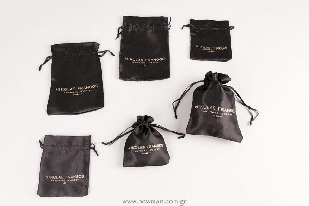 Nikolas Frangos χρυσή εκτύπωση σε σατέν μαύρα πουγκιά