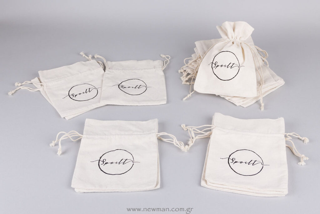 Spoilt logo on linen pouches