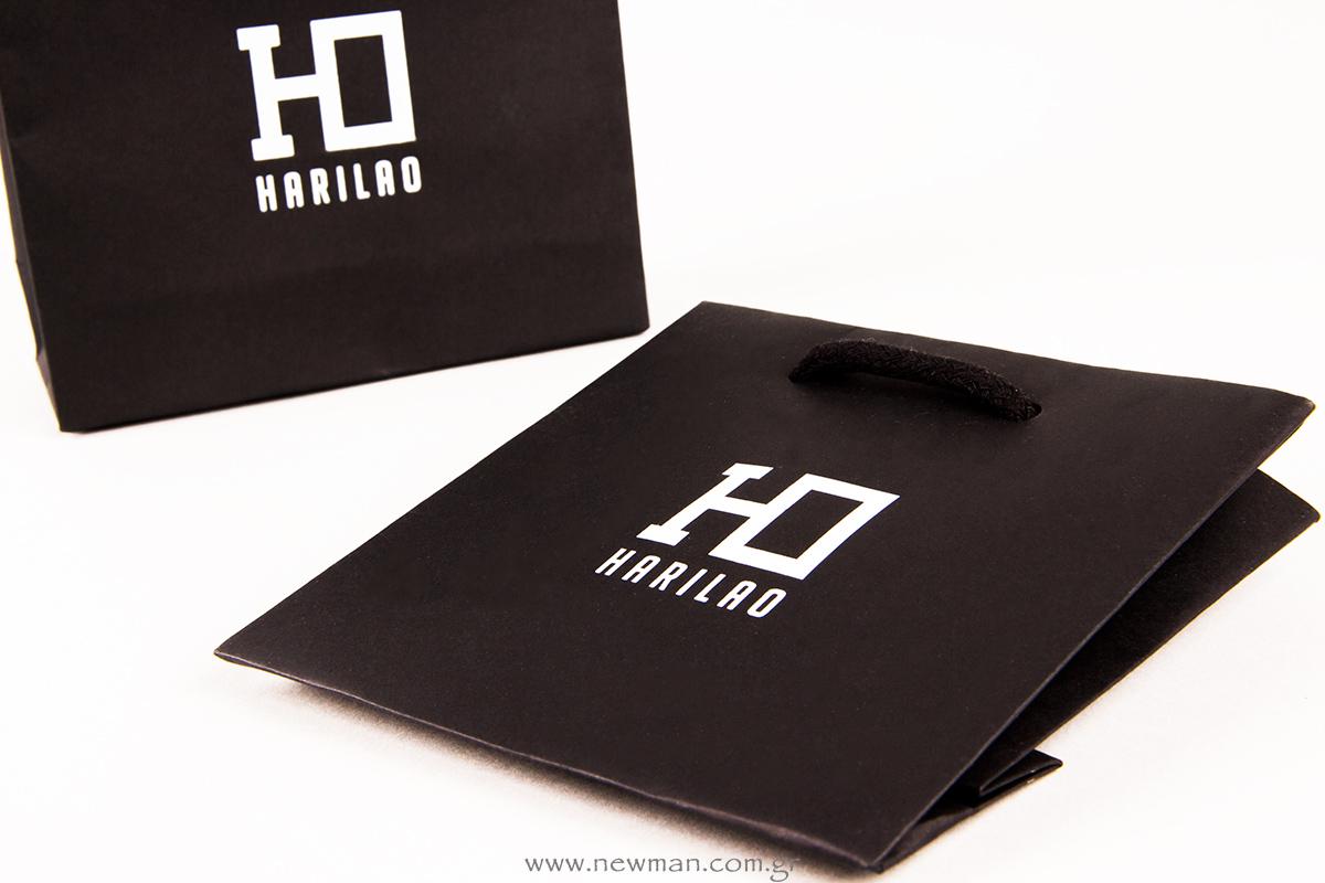Μαύρη τσάντα Burano με το λογότυπο HARILAO