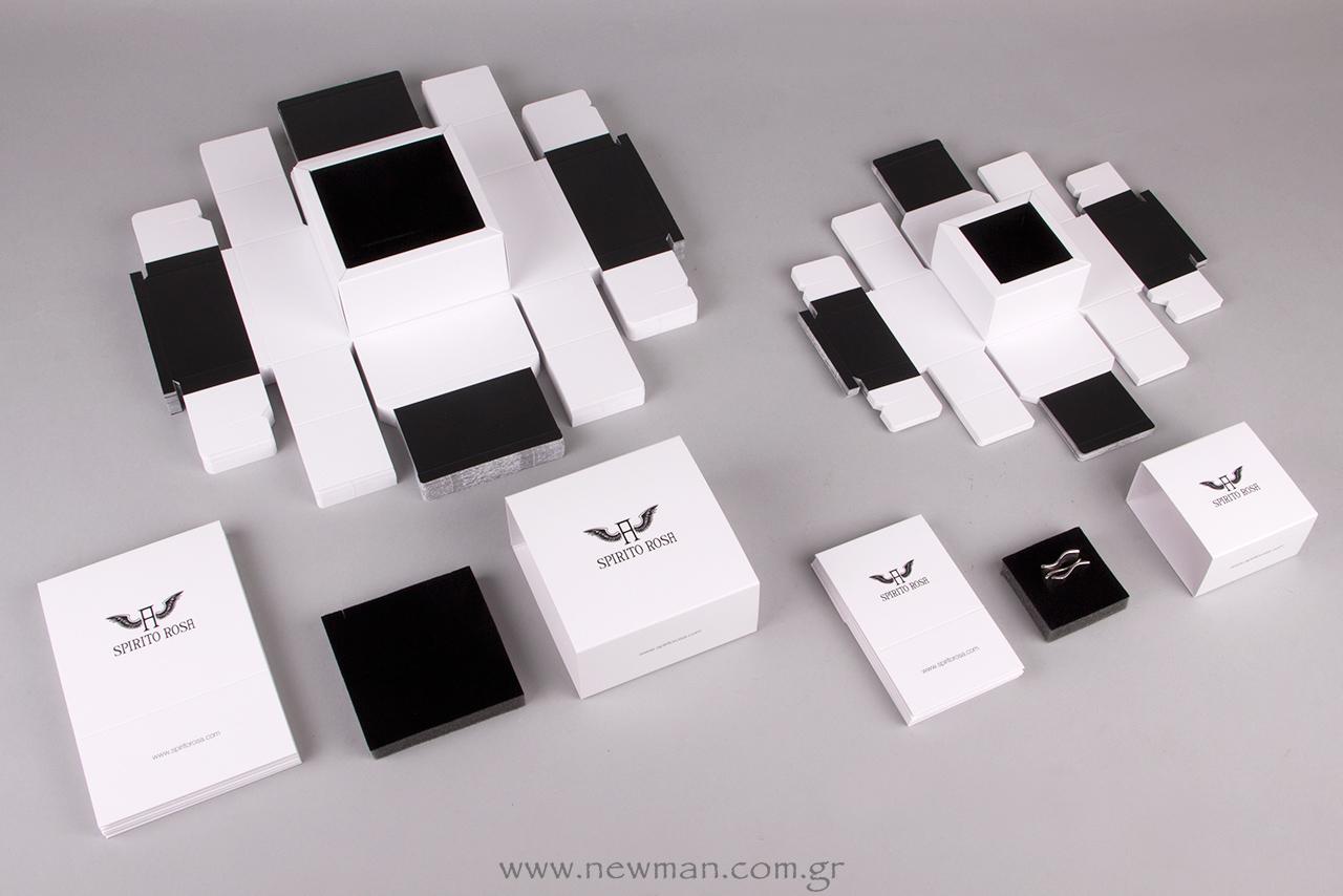 Το εσωτερικό του σώματος του κουτιού είναι τυπωμένο μαύρο και διαθέτει βελούδινο αφρολέξ ιταλικής προέλευσης με συγκεκριμένες εγκοπές.