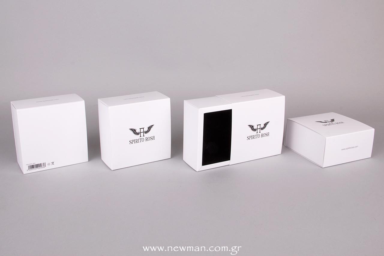 Τετράγωνο, συρταρωτό κουτί με λογότυπο Spirito Rosa.