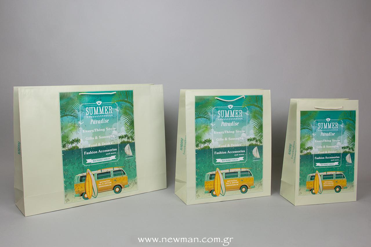 Για το πολυκατάστημα Best Market Nargos στο Αγκίστρι δημιουργήσαμε τσάντες Summer Paradise για συσκευασίες δώρου.