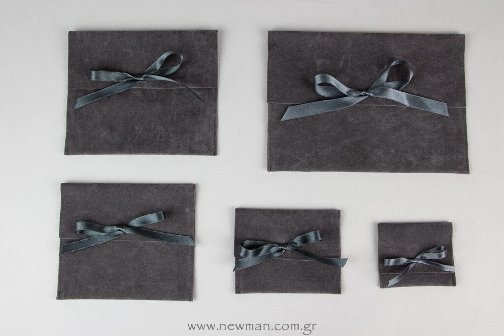 Πουγκί - Τσεπάκι Κορδέλα σε χρώμα Γκρι Σκούρο, 5 μεγέθη