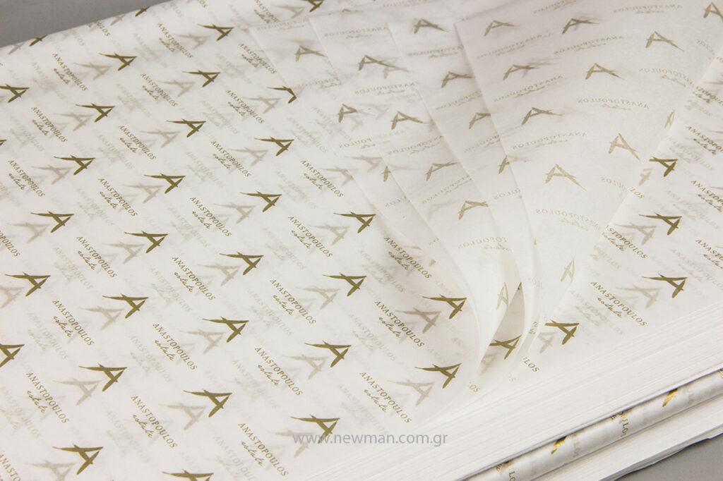 Τυπώσαμε την επωνυμία της εταιρείας σε λευκό χαρτί αφής pantone 18 gr με χρυσή εκτύπωση.