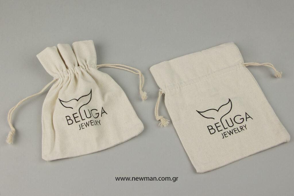 Beluga Jewelry: Λινά πουγκιά με λογότυπο.