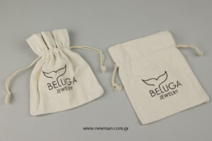Beluga Jewelry: Linen pouches with logo.