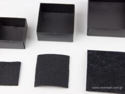 Μαύρα χάρτινα πλαστικοποιημένα κουτιά μπιζού με βελούδινο μαξιλαράκι σε 5 μεγέθη 0747