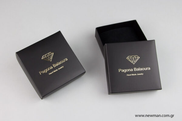 Μαύρα χάρτινα πλαστικοποιημένα κουτιά μπιζού με βελούδινο μαξιλαράκι σε 5 μεγέθη 0767