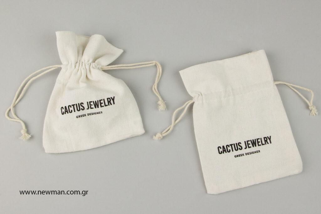 Cactus Jewelry: Λινό πουγκί με εκτύπωση