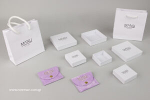 MANU The Label: Jewellery packaging products with printed logo.