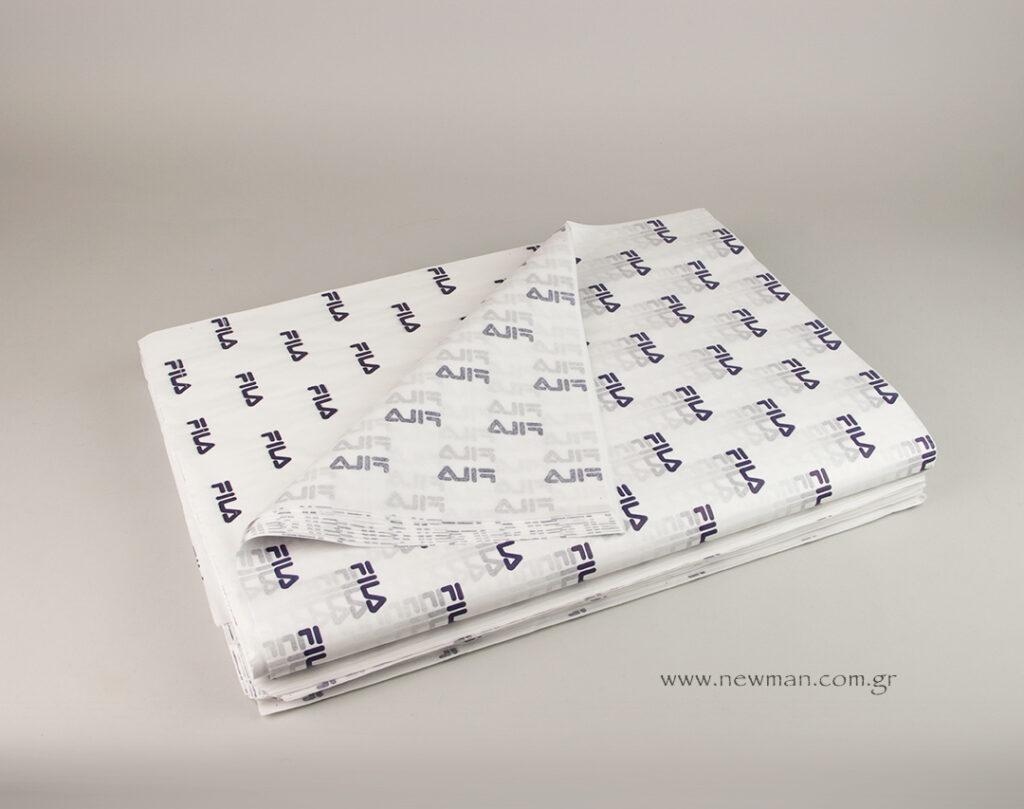 Για τον πελάτη της FILA GREECE τυπώσαμε το λογότυπο σε μπλε σκούρο χρώμα πάνω σε χαρτί αφής 18 γραμμαρίων μεγέθους 50x70cm.