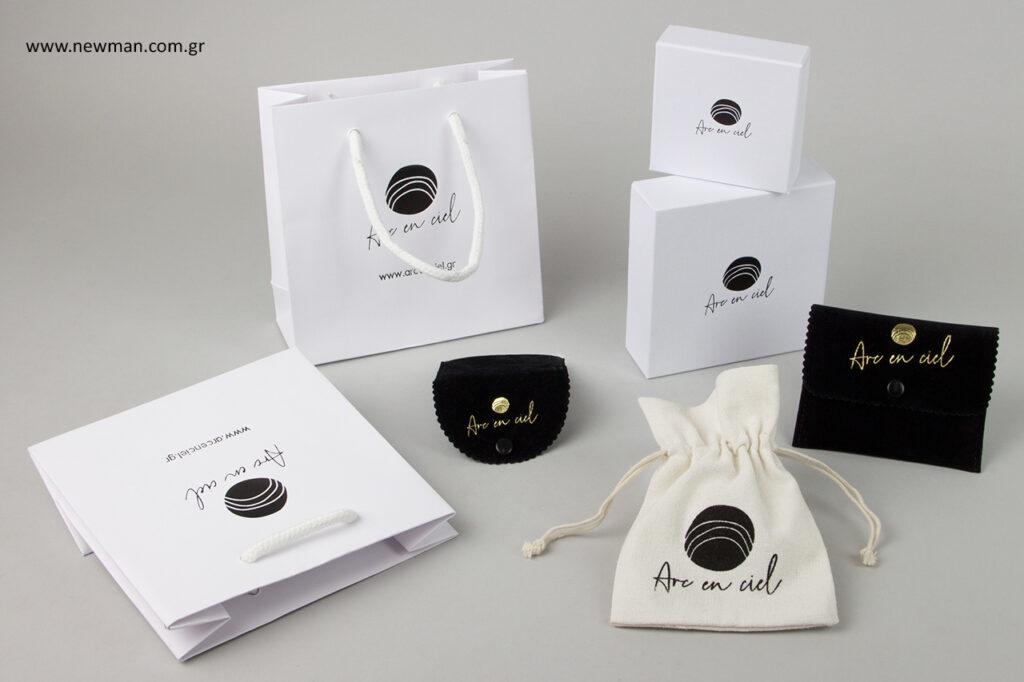 Κουτιά, τσάντες, πουγκιά χονδρικής με εκτύπωση λογότυπου.