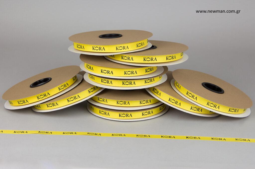 Κορδέλες σε κίτρινο χρώμα με μαύρη εκτύπωση