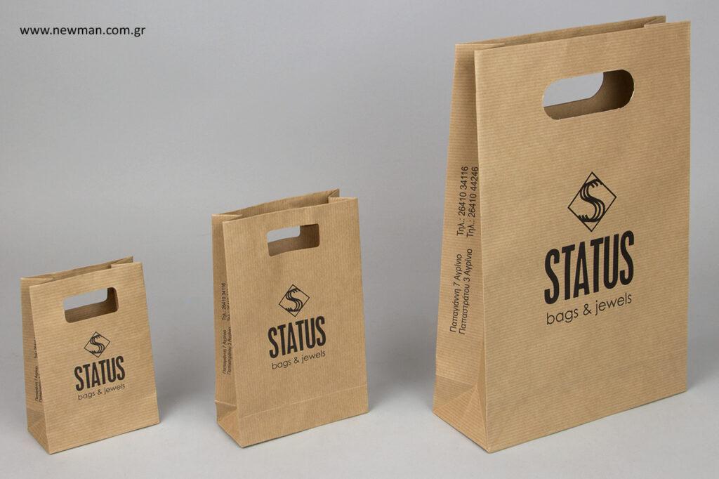 STATUS bags and jewels: Επώνυμες τσάντες, τυπωμένες με μεταξοτυπία.