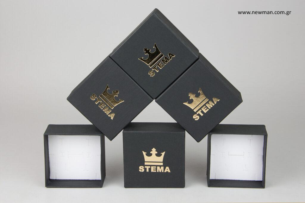 Κουτιά συσκευασίας για κοσμήματα με λογότυπο.