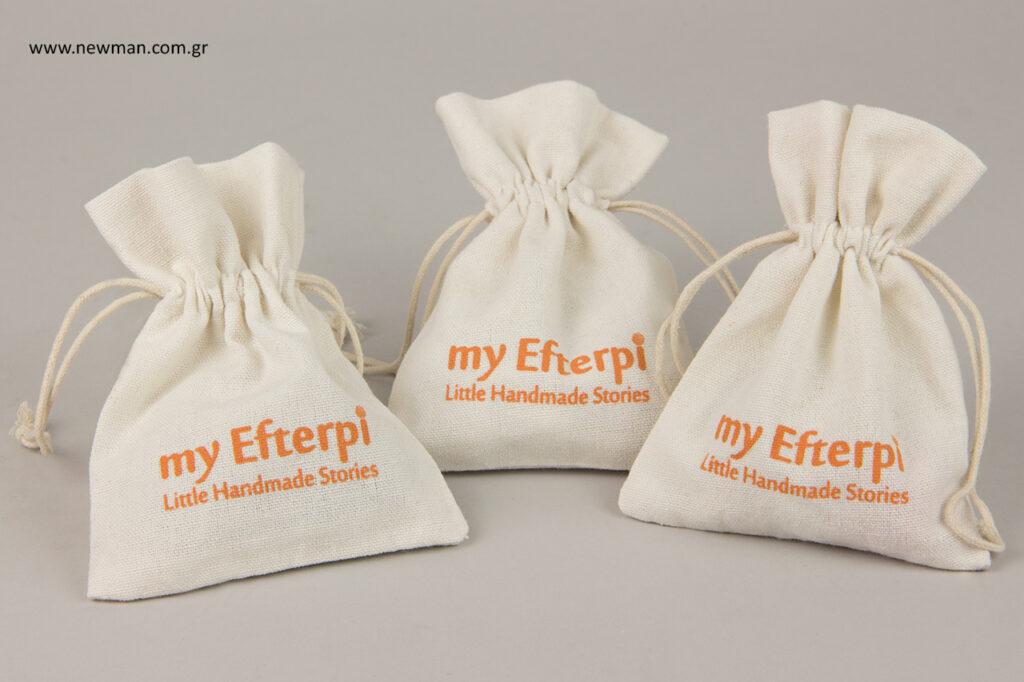 my Efterpi: Εκτύπωση σε υφασμάτινο πουγκί για κοσμήματα.