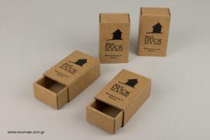 Wild Duck: Κουτιά εκτυπωμένα με μεταξοτυπία για εστιατόριο.