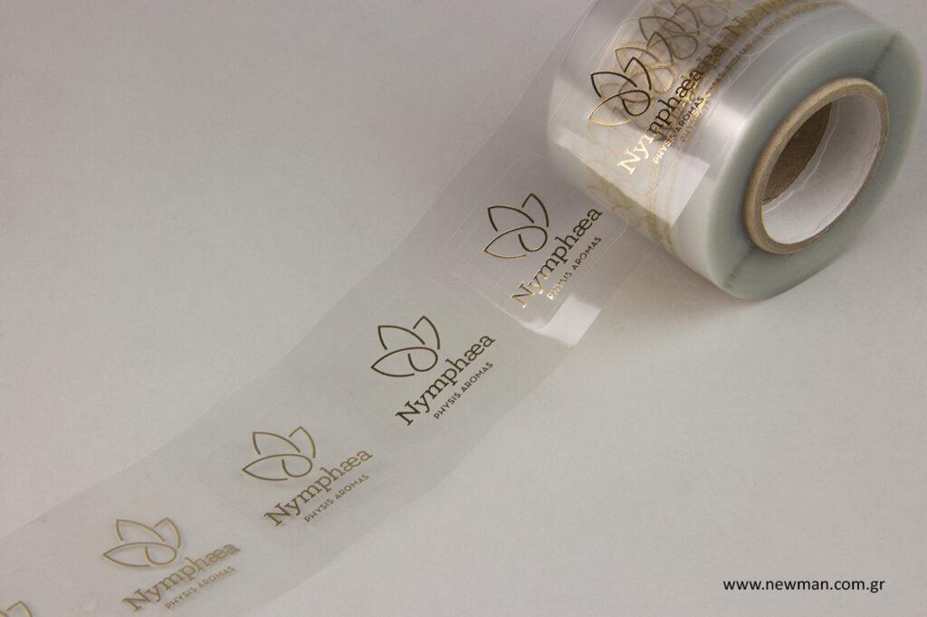 Έξτρα διάφανες ετικέτες, ειδικά τυπωμένες για μπουκάλια, γυαλί και καθρέφτη.