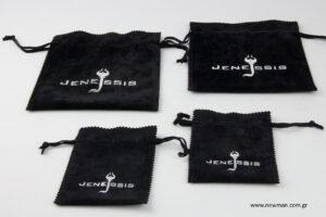 Jenessis: Τυπωμένα μαύρα πουγκιά με ασημοτυπία.