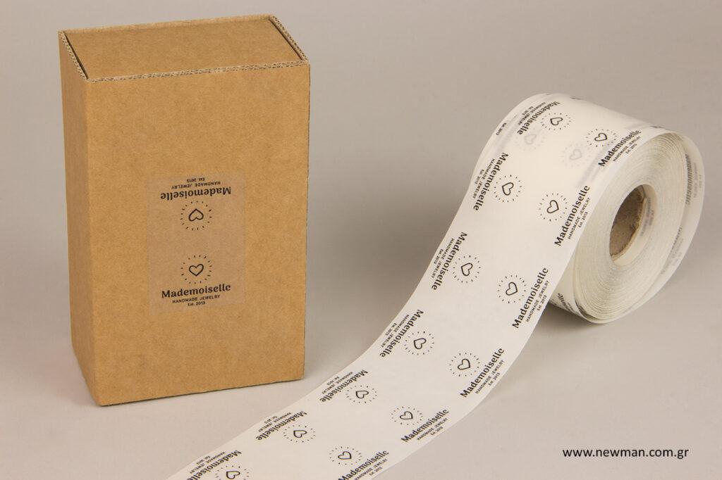 Αυτοκόλλητα χονδρικής, τυπωμένα από τη NewMan Packaging.