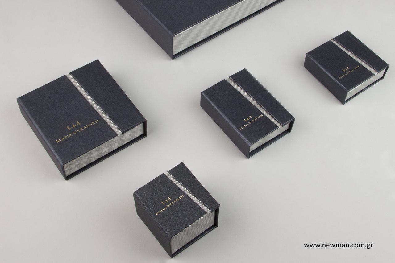 Επώνυμα κουτιά για τα κοσμήματά σας με εκτύπωση λογότυπου.