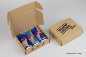 RedBull: Κουτιά NewMan για συσκευασία ενεργειακών ποτών.