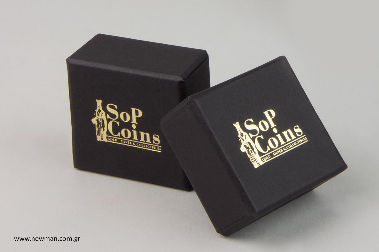 Χάρτινα κουτιά κοσμημάτων με λογότυπο.