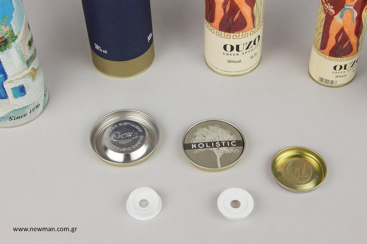 Τσίγκινα κουτιά σε σχήμα κυλίνδρου με εκτύπωση εταιρικού λογότυπου.