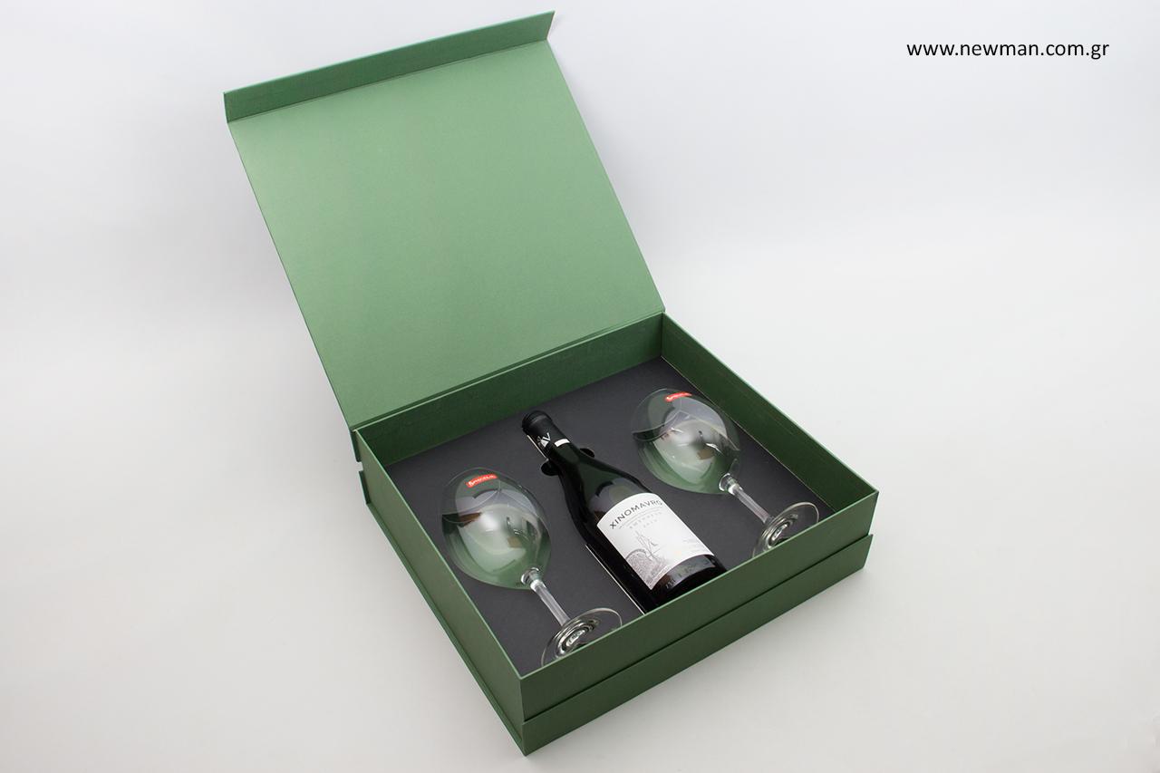 Κουτιά για μπουκάλια και ποτήρια με σχεδιασμό NewMan.